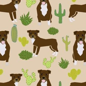 pitbull terrier cactus beige cute rescue dog american pitbull dog fabric