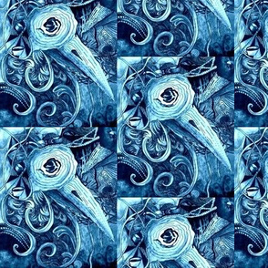 Birds of a Feather, in Tints and Shades of Steel Blue,  Medley of Birds, Worms and Coffee Cups, Diagonal Slant to Right