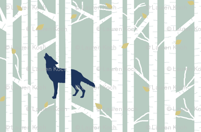 into the woods - wolf/coyote on sage