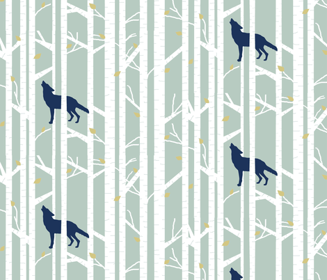 into the woods - wolf/coyote on sage fabric by buckwoodsdesignco on Spoonflower - custom fabric
