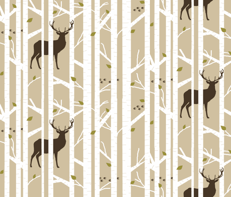 Into the woods - deer // taupe brown and moss fabric by buckwoodsdesignco on Spoonflower - custom fabric