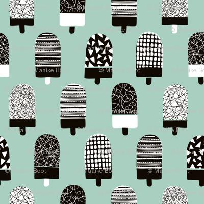 Scandinavian popsicle ice cream summer illustration pattern mint boys