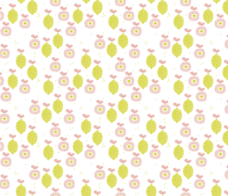 lemon and apple juice tropical summer fruit kitchen Scandinavian design vintage lime pink fabric by littlesmilemakers on Spoonflower - custom fabric
