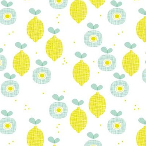 lemon and apple juice tropical summer fruit kitchen Scandinavian design vintage yellow mint