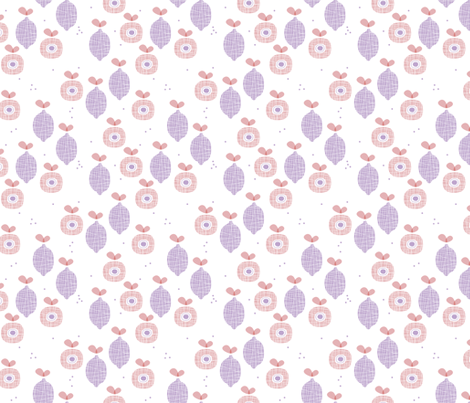 lemon and apple juice tropical summer fruit kitchen Scandinavian design vintage lilac pink fabric by littlesmilemakers on Spoonflower - custom fabric