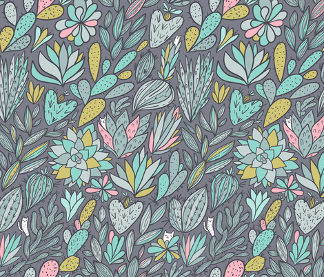 cactus and succulents BIG scale fabric by kostolom3000 on Spoonflower - custom fabric