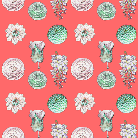 Posy Valentine Pink fabric by janinez on Spoonflower - custom fabric