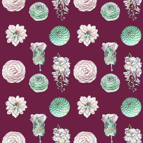 Posy Valentine Wine fabric by janinez on Spoonflower - custom fabric