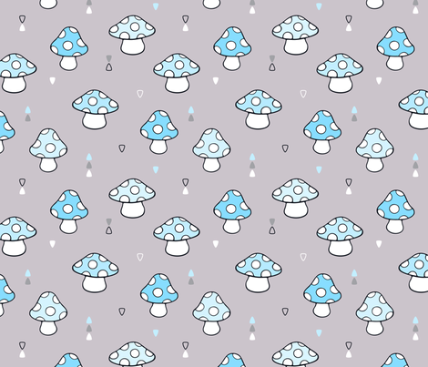 Cute Mushrooms and Toadstools fabric by nossisel on Spoonflower - custom fabric