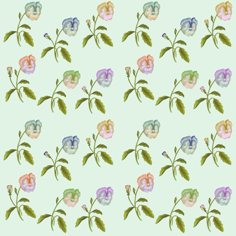 Pansy Meadow on Palest Green  fabric by thistleandfox on Spoonflower - custom fabric