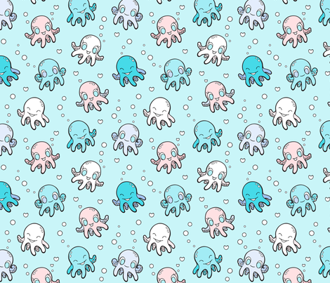 Happy Squid fabric by nossisel on Spoonflower - custom fabric
