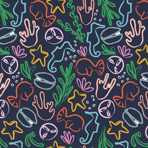 Sea Creatures navy fabric by lburleighdesigns on Spoonflower - custom fabric