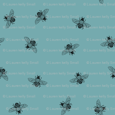 Bee_Black_on_Dusty Duckegg Blue_Ditsy