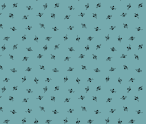 Bee_Black_on_Dusty Duckegg Blue_Ditsy fabric by thistleandfox on Spoonflower - custom fabric