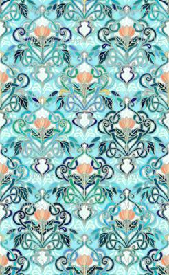 Ocean Aqua Art Nouveau Pattern with Peach Flowers small print