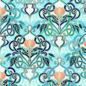 Ocean Aqua Art Nouveau Pattern with Peach Flowers small print