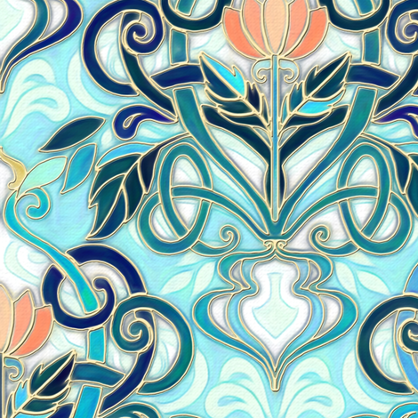 Ocean Aqua Art Nouveau Pattern with Peach Flowers large print fabric by micklyn on Spoonflower - custom fabric