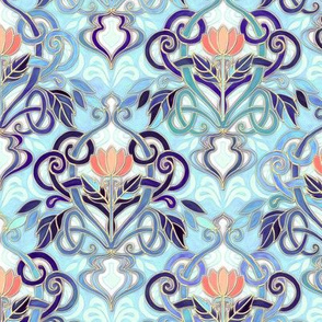 Ocean Indigo Art Nouveau Pattern with Coral Flowers small print