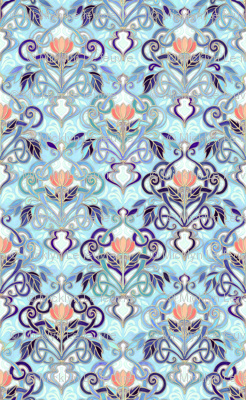 Ocean Indigo Art Nouveau Pattern with Coral Flowers large print