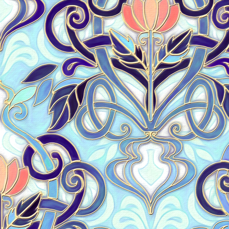 Ocean Indigo Art Nouveau Pattern with Coral Flowers large print fabric by micklyn on Spoonflower - custom fabric