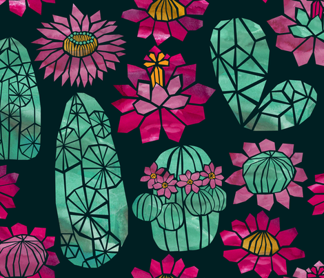 Tropical Cactus Flowers - Night fabric by ceciliamok on Spoonflower - custom fabric