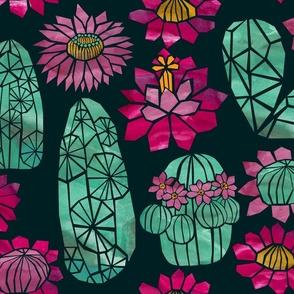 Tropical Cactus Flowers - Night