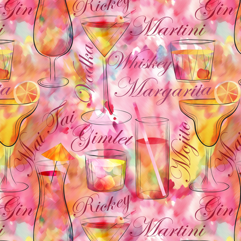 Let's Drink Cocktails!  fabric by vo_aka_virginiao on Spoonflower - custom fabric