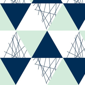 Navy Mint Triangle Cheater Quilt - Baby Blanket