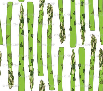 16-13AB Asparagus Green Vegetable Food Stripe || Garden Gardener  White_Miss Chiff Designs