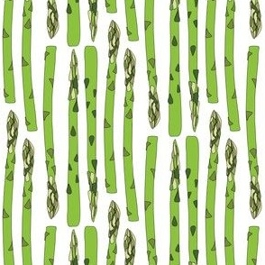 Asparagus Green Vegetable Food Stripe || Garden Gardener  White_Miss Chiff Designs