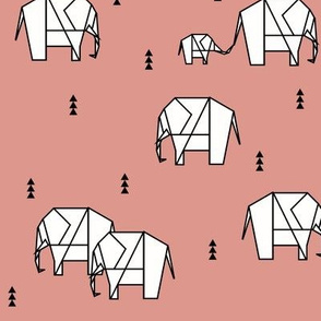 Elephants - geometric white on coral ele family || by sunny afternoon