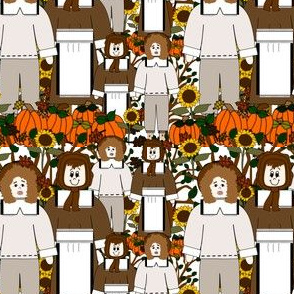 Pilgrims, Sunflowers, Fall Leaves, Pumpkins and Thanksgiving Fabric H
