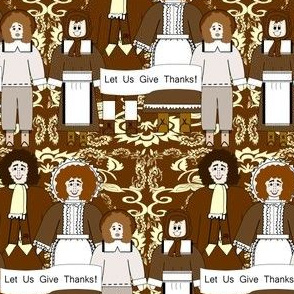 Pilgrims and Thanksgiving Victorian Flowers Fabric I