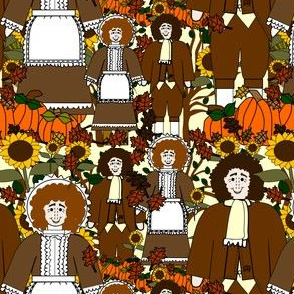 Pilgrims, Sunflowers, Fall Leaves, Pumpkins and Thanksgiving Fabric J