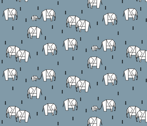 Elephants - geometric black and white on dusty blue || by sunny afternoon fabric by sunny_afternoon on Spoonflower - custom fabric