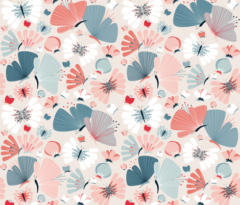 floral butterflies fabric by heleenvanbuul on Spoonflower - custom fabric