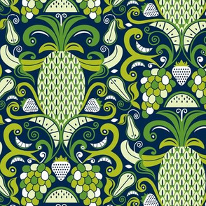 Ambrosia - Fruit Damask Pineapple Navy Blue Green