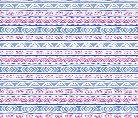 BoHo Native American Cute Diamond Stripe Design Pink, Blue and Purple fabric by khaus on Spoonflower - custom fabric