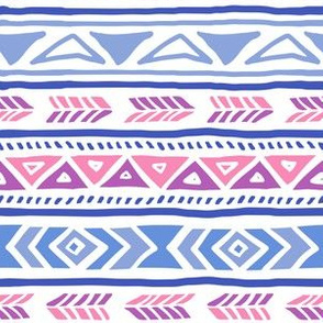 BoHo Native American Cute Diamond Stripe Design Pink, Blue and Purple