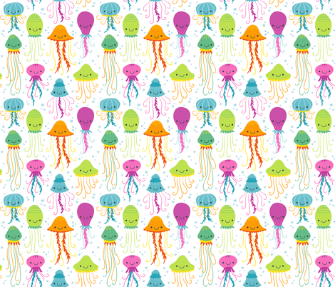 Cute Summer Jelly Fish, Colorful Kids Colors for the Beach fabric by khaus on Spoonflower - custom fabric
