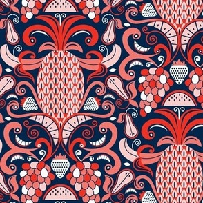 Ambrosia - Fruit Damask Navy Blue Pink Red