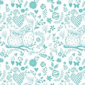 Owl Lace in Aqua