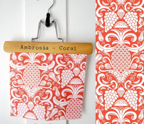Ambrosia - Fruit Damask Pineapple Coral White