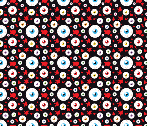 Halloween Eyeballs and Crossbones Cute adn Funny Red and Black fabric by khaus on Spoonflower - custom fabric