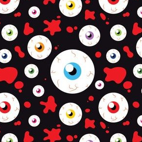 Halloween Eyeballs and Crossbones Cute adn Funny Red and Black