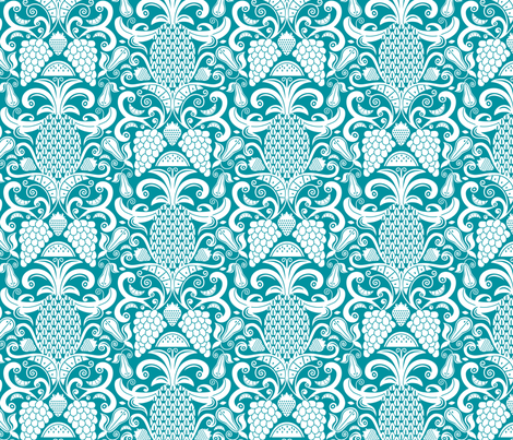 Ambrosia - Fruit Damask Pineapple Teal White fabric by heatherdutton on Spoonflower - custom fabric