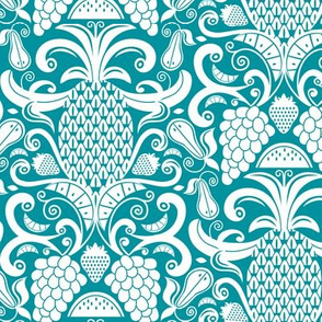 Ambrosia - Fruit Damask Teal White