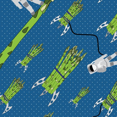 Asparagus food vegetable outer space retro rocket for Vintage outer space decor