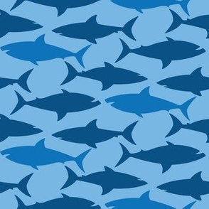 Shark Pattern on Blue