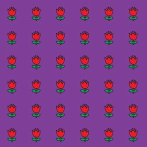 Little flower - red on purple